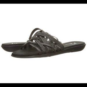 A2 Aerosoles black flat sandals, braided